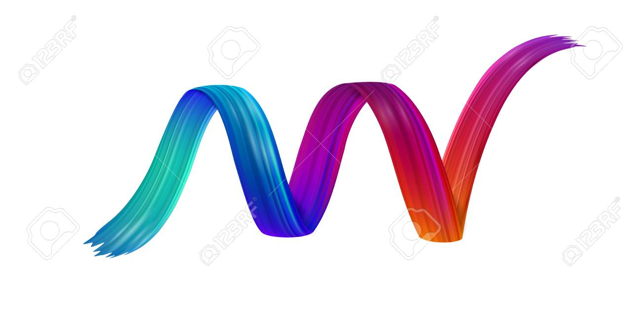 Colorful spiral brush stroke drawn on white paper background. Abstract banner. Vector art illustration. - 127730984