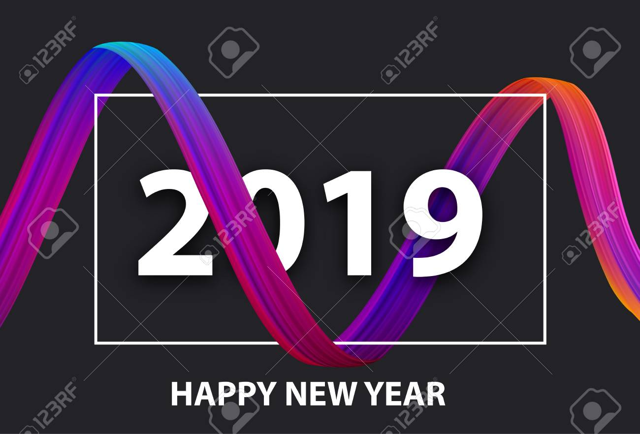 Happy New Year 2019 creative festive poster with colorful gradient brush stroke design on black. Vector background. - 127730985