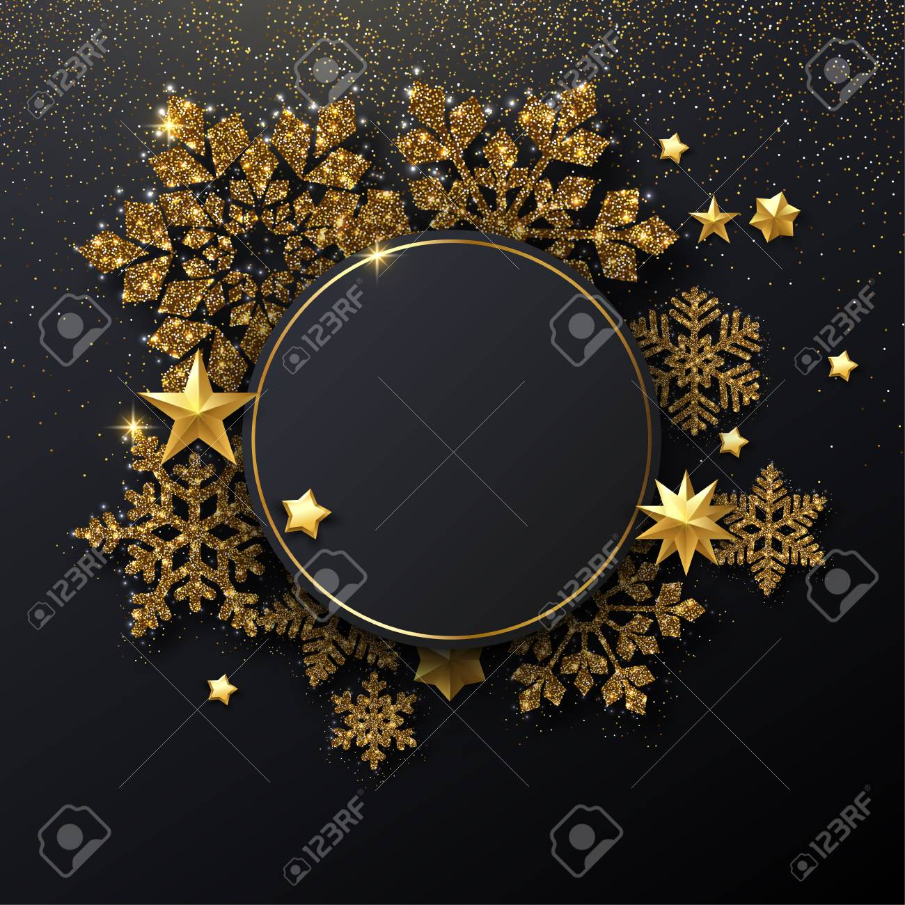 Christmas and New Year festive shiny card template with round frame, golden snowflakes and stars. Vector background. - 127730987