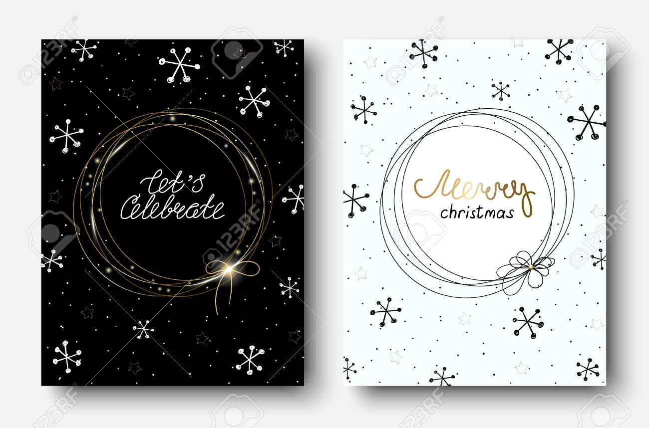 Set of Merry Christmas greeting cards with abstract pattern with snow. Vector paper background. - 127730990