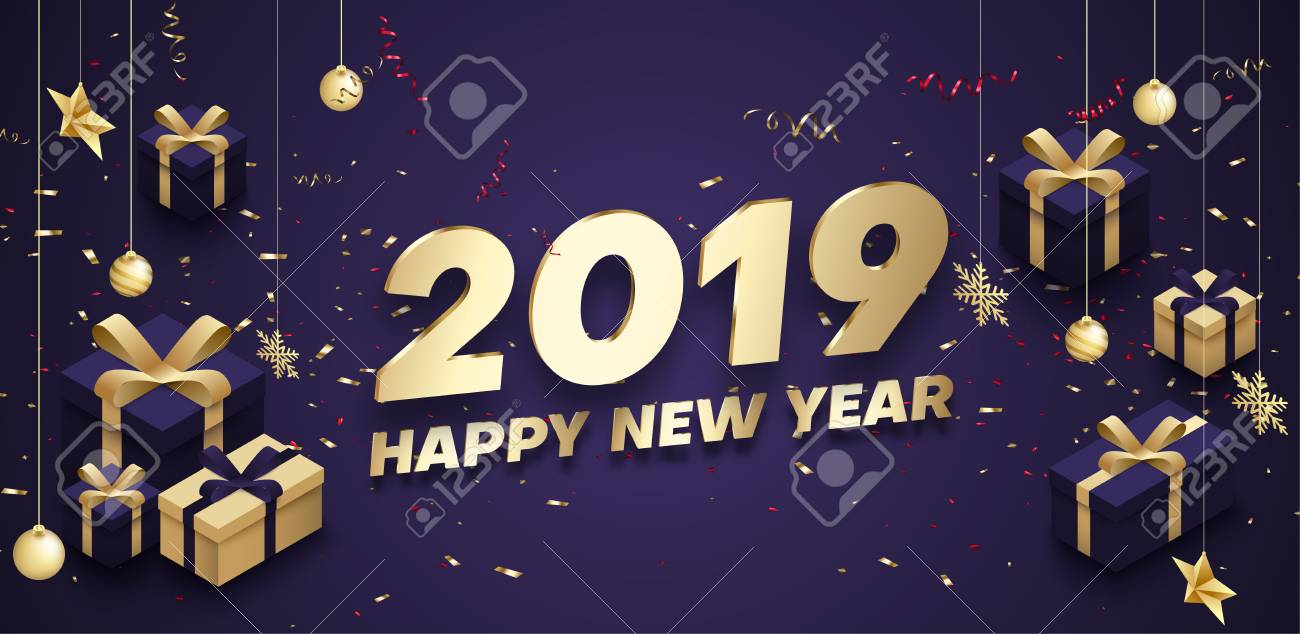 Purple Happy New Year 2019 poster with golden 3d gifts, Christmas decorations and confetti. Vector background. - 127730993
