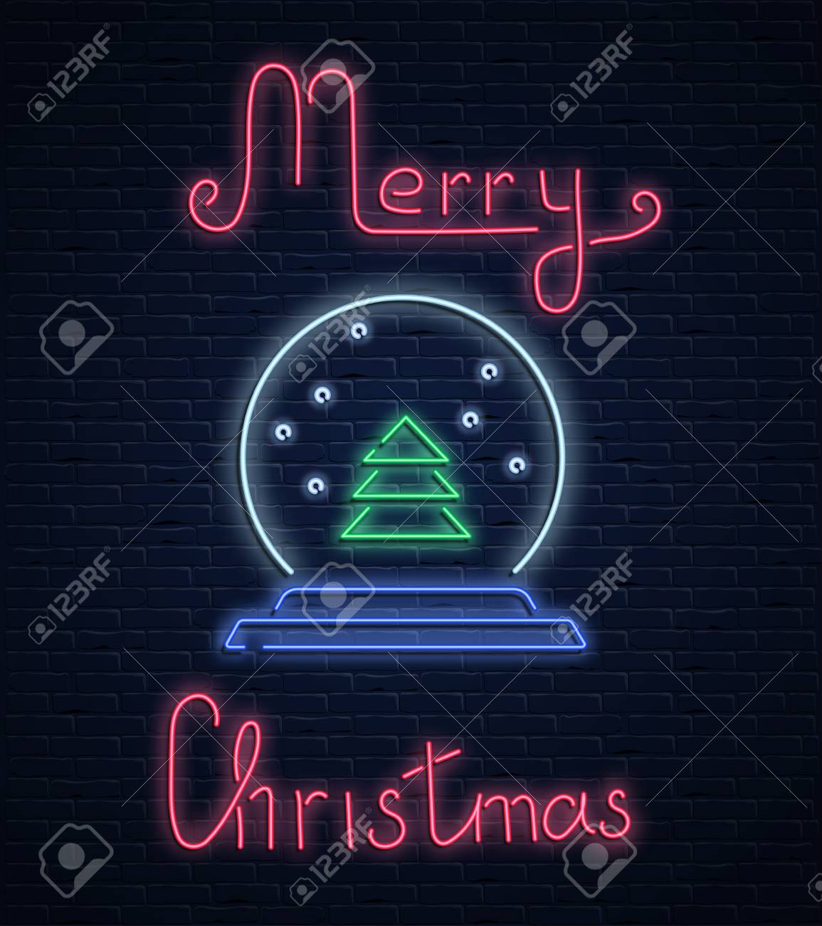 Merry Christmas neon luminous card with Christmas tree inside snowball on brick textured background. Vector background. - 127730997