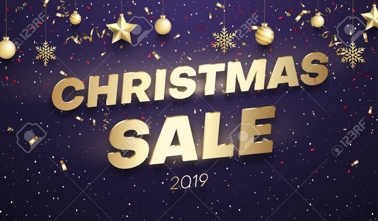 Purple Christmas 2019 sale promo poster with golden festive decorations and color confetti. Vector background. - 127731002