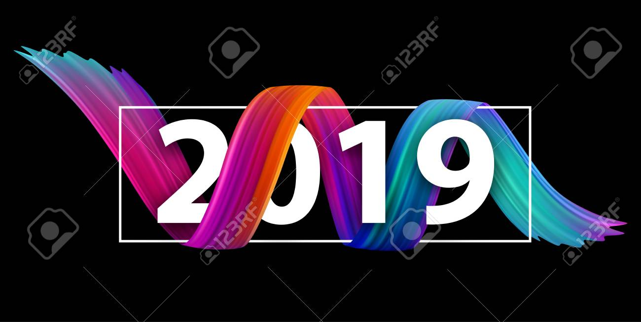 New Year 2019 creative festive banner with colorful gradient brush stroke design on black. Vector background. - 127731006
