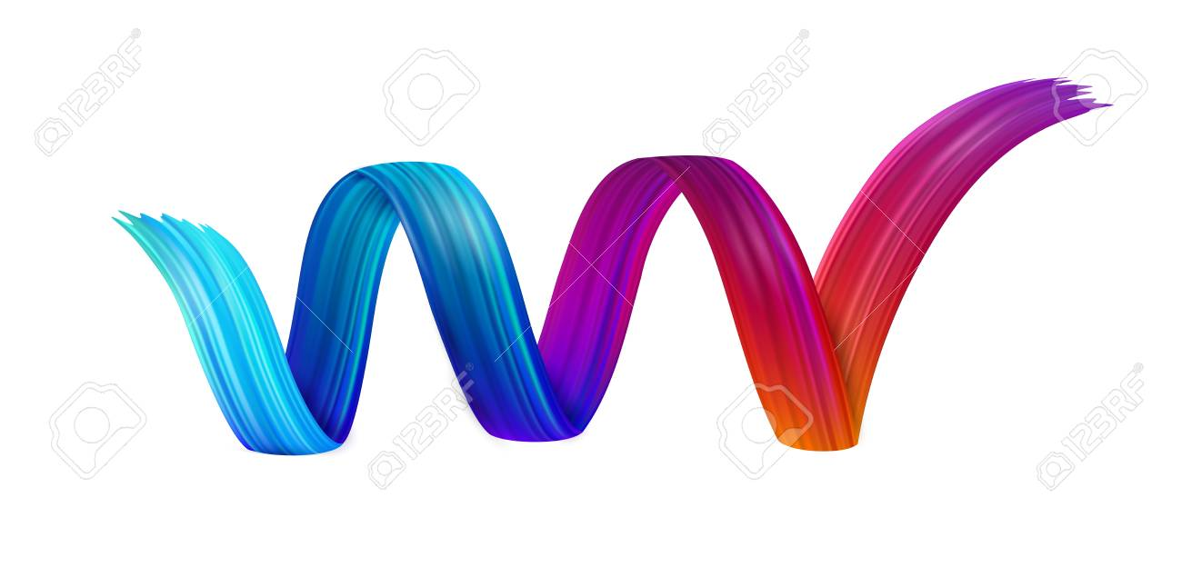 Colorful spiral brush stroke drawn on white paper background. Abstract banner. Vector art illustration. - 127702035