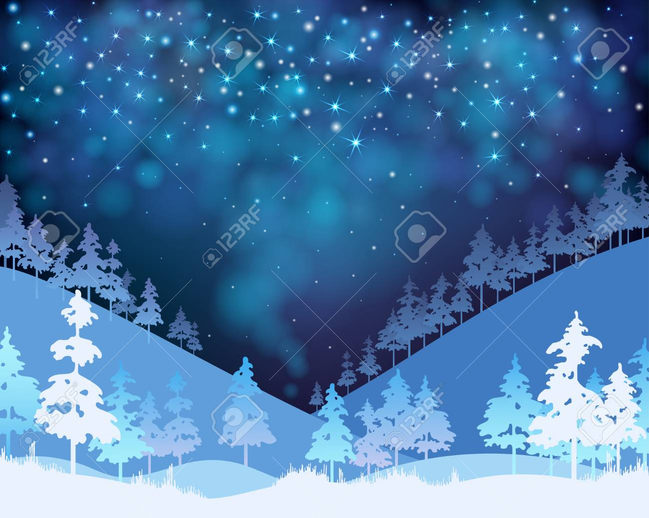 Christmas and New Year blue shiny poster with winter landscape. Vector background. - 127702042
