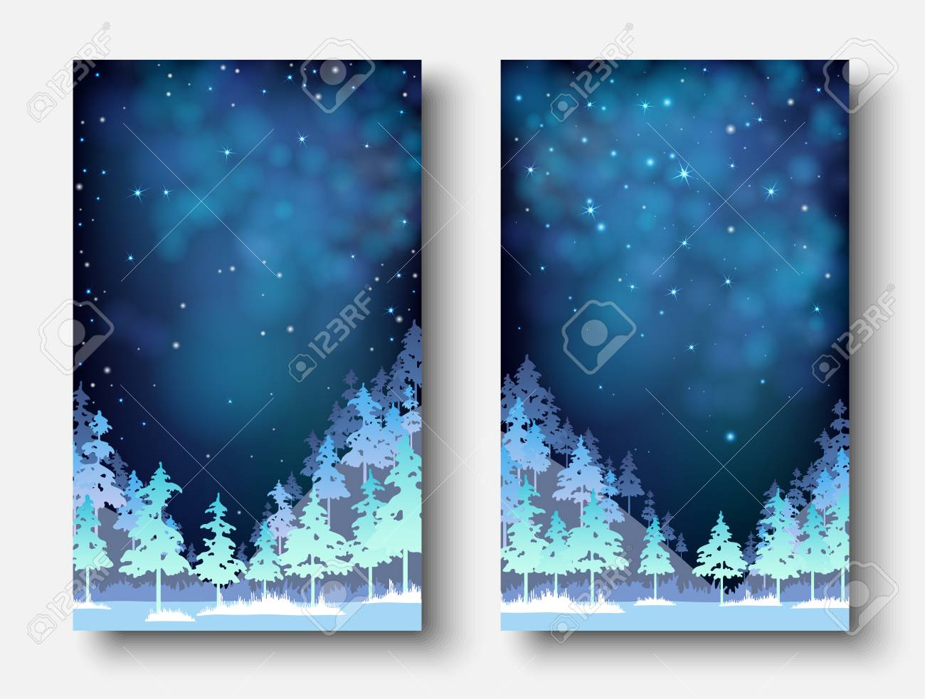 Set of winter, Christmas and New Year blue shiny card templates with magic fir forest. Vector background. - 127702046