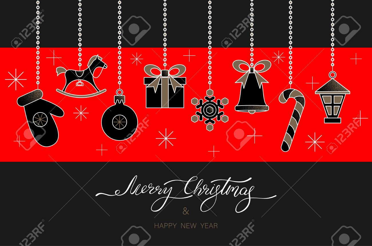 Black and red Merry Christmas and Happy New Year greeting card with festive decorations Vector background. - 127702047