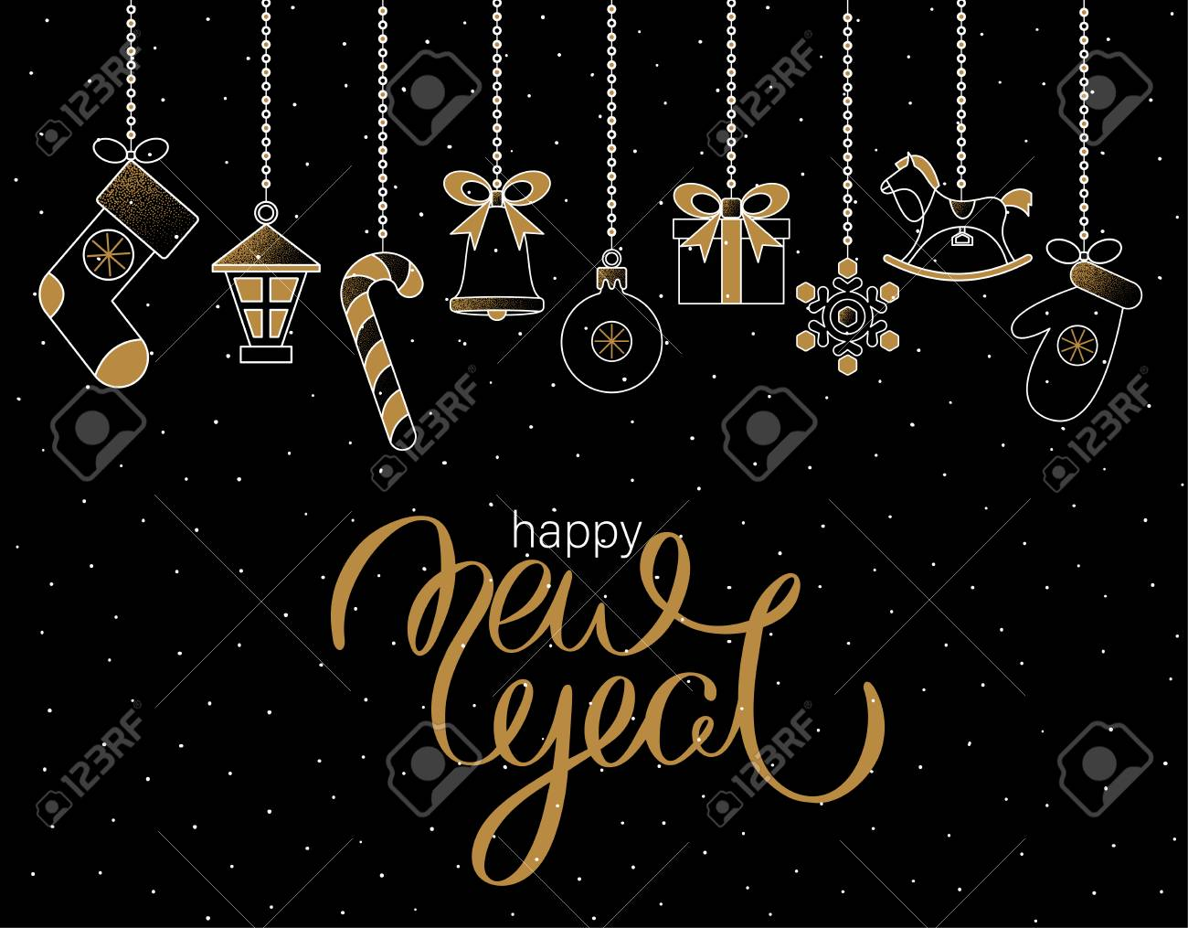 Black Happy New Year greeting card with cute festive decorations and snow. Vector background. - 127702048