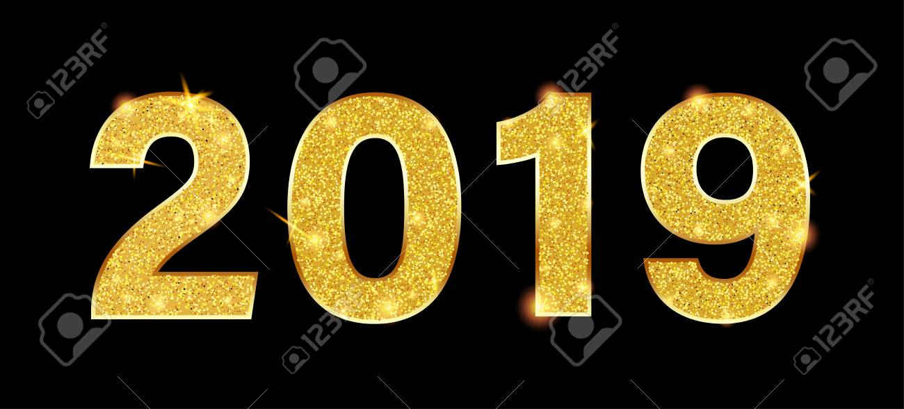 New Year 2019 sign or banner with golden figures on black backdrop. Vector background. - 127702051