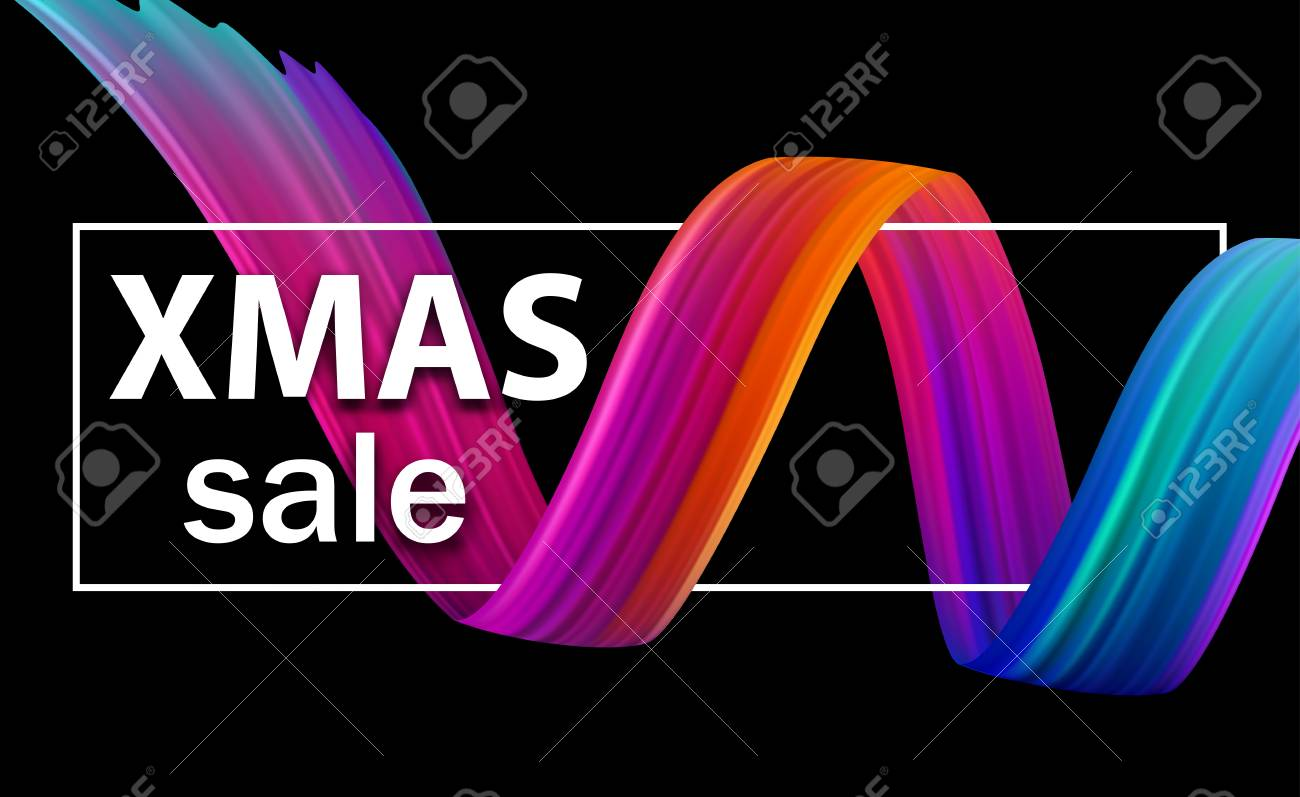 Christmas xmas sale seasonal promo poster with abstract colorful brush stroke spiral. Vector background. - 127702052