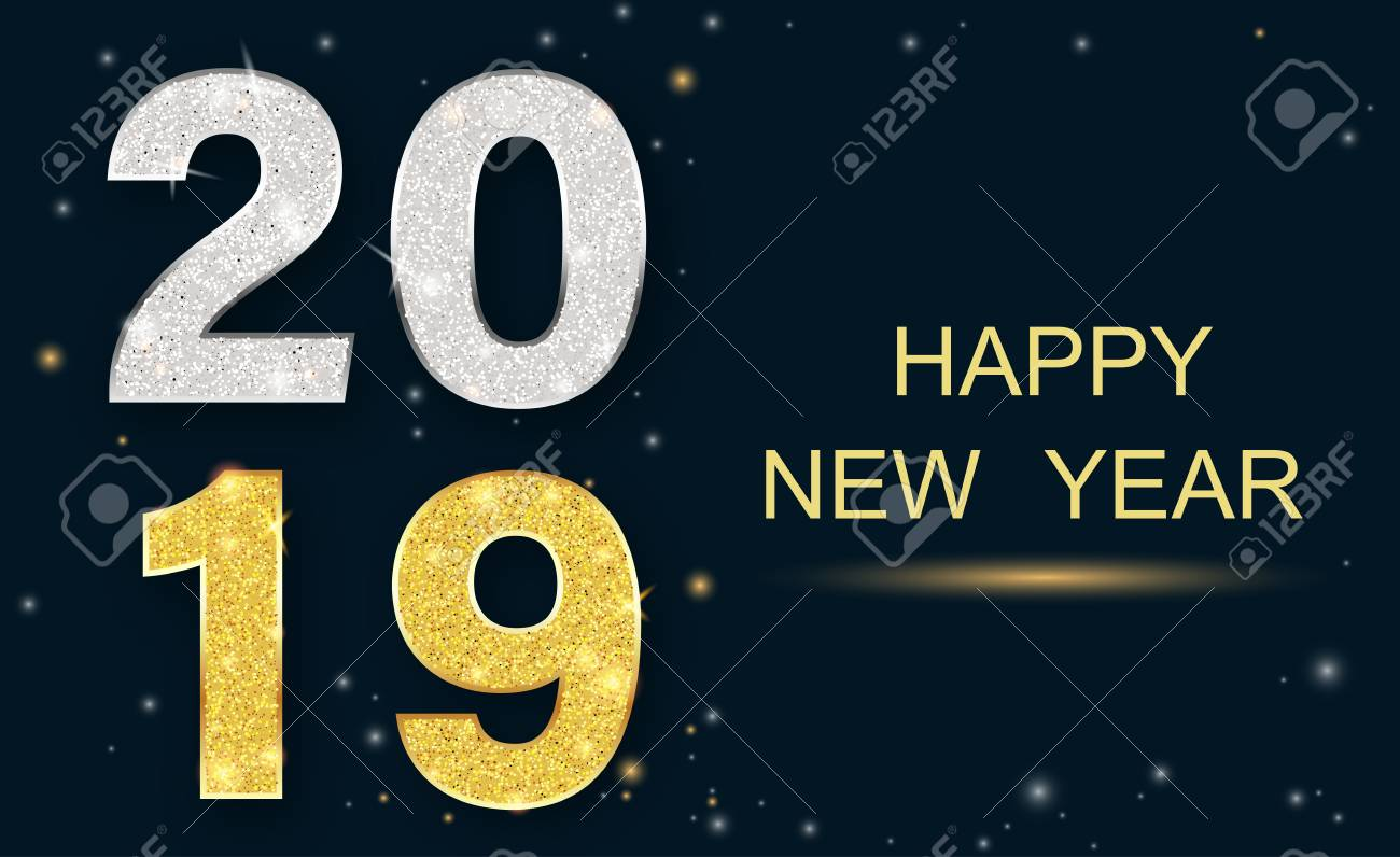 Happy New Year 2019 greeting card with shiny figures. Vector background. - 127702053