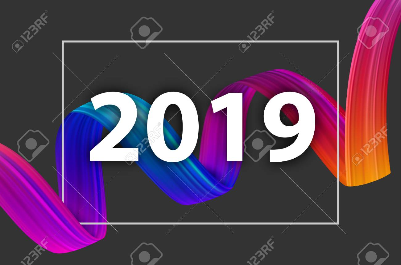 New Year 2019 poster with colorful gradient brush stroke design on grey. Vector background. - 127702055