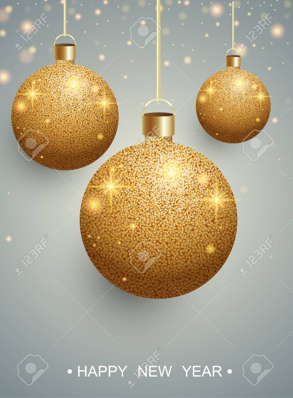 Happy New Year greeting card with gold shiny Christmas balls. Vector background. - 127702060