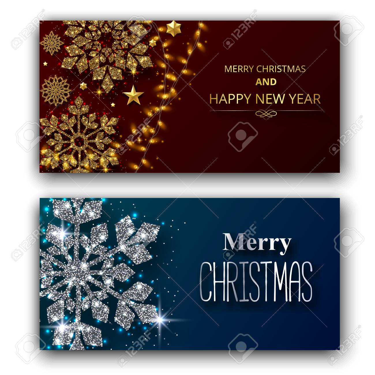 Set of Merry Christmas and Happy New Year shiny greeting cards with beautiful snowflakes and lights. Vector background. - 127702061