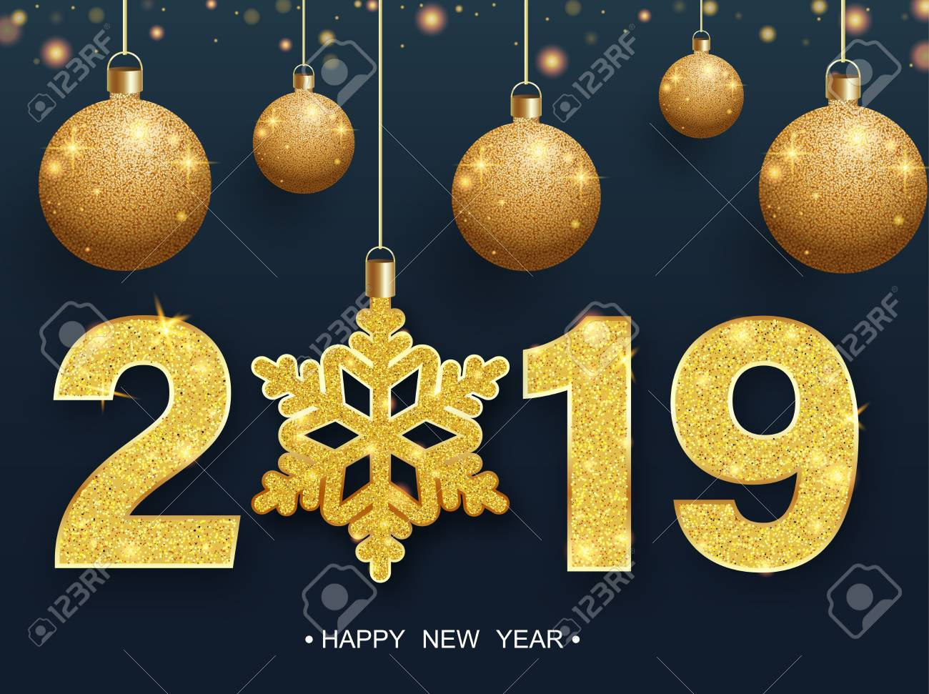 Happy New Year 2019 poster with golden Christmas balls and snowflake. Vector background. - 127702063