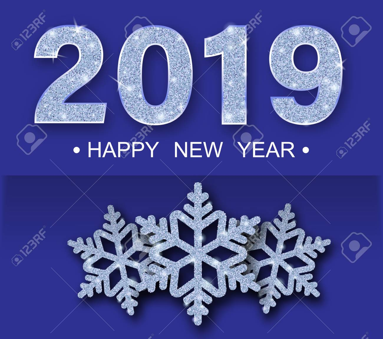 Purple Happy New Year 2019 greeting card with shiny snowflakes. Vector background. - 127702066