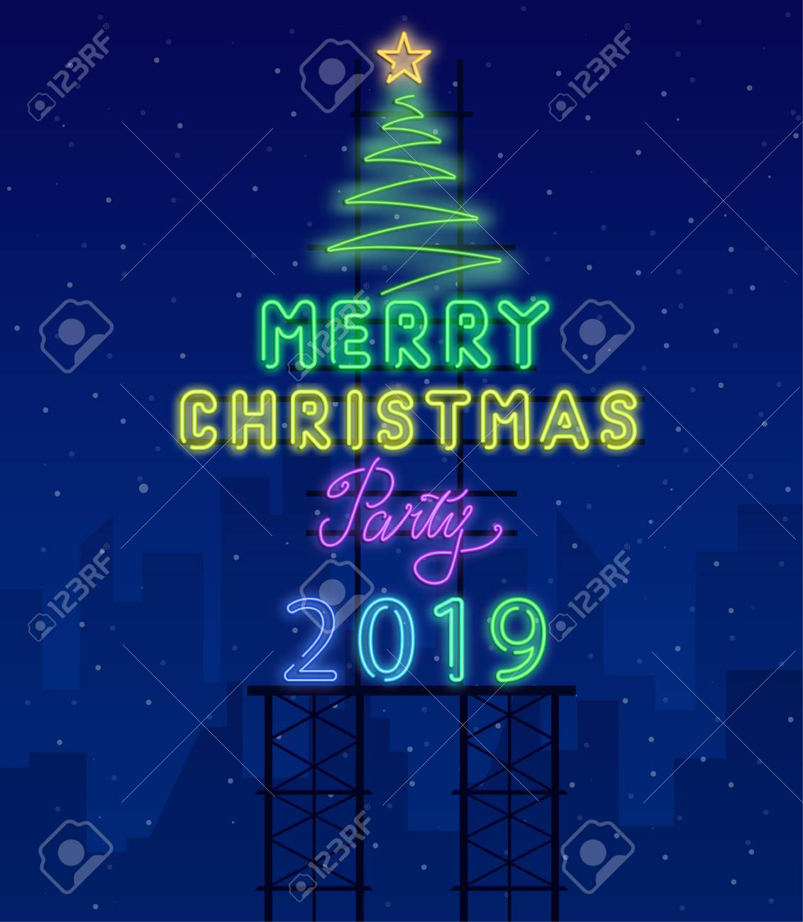 127678775 merry christmas 2019 party neon luminous poster with christmas tree vector background