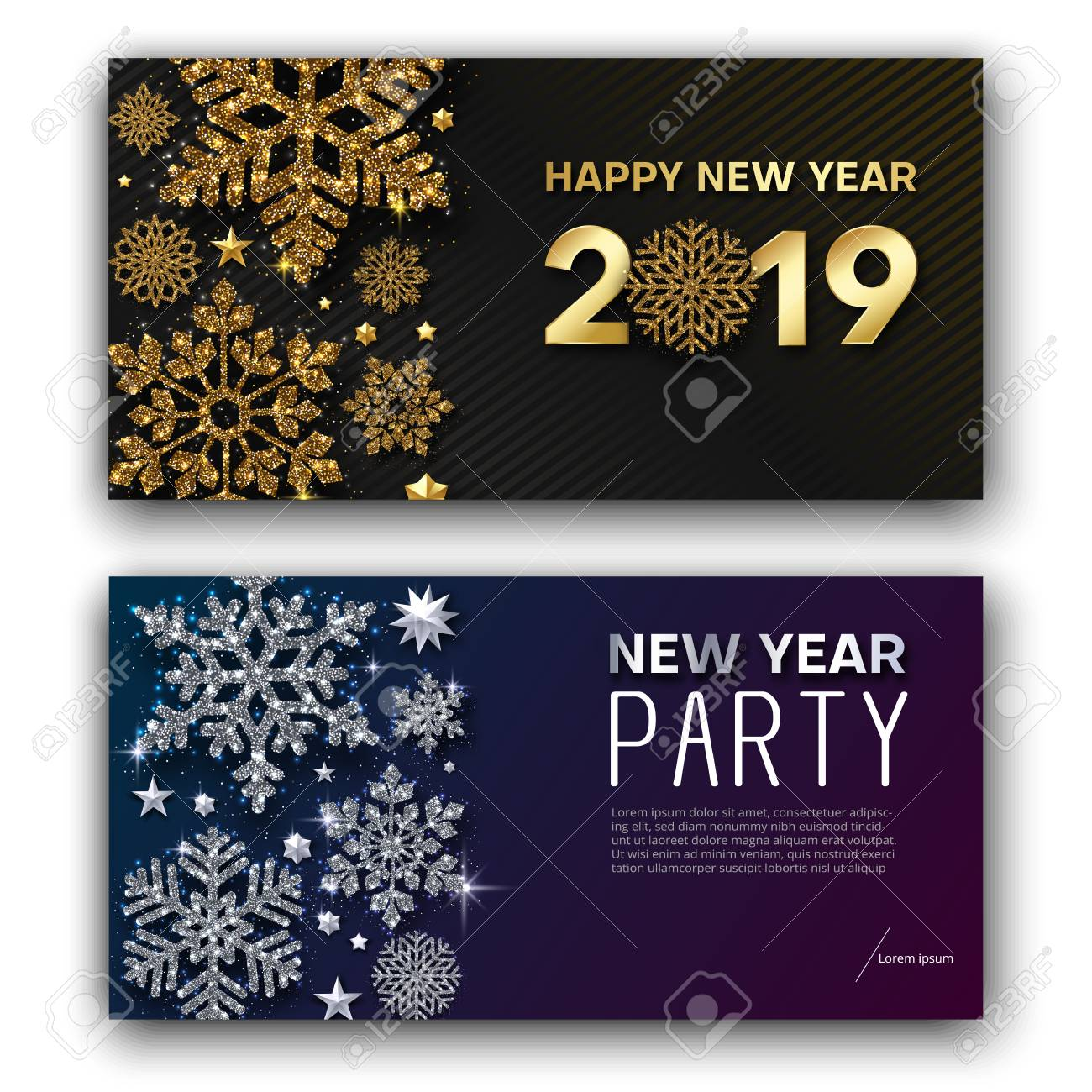 Happy New Year 4 greeting card and New Year party invitation..