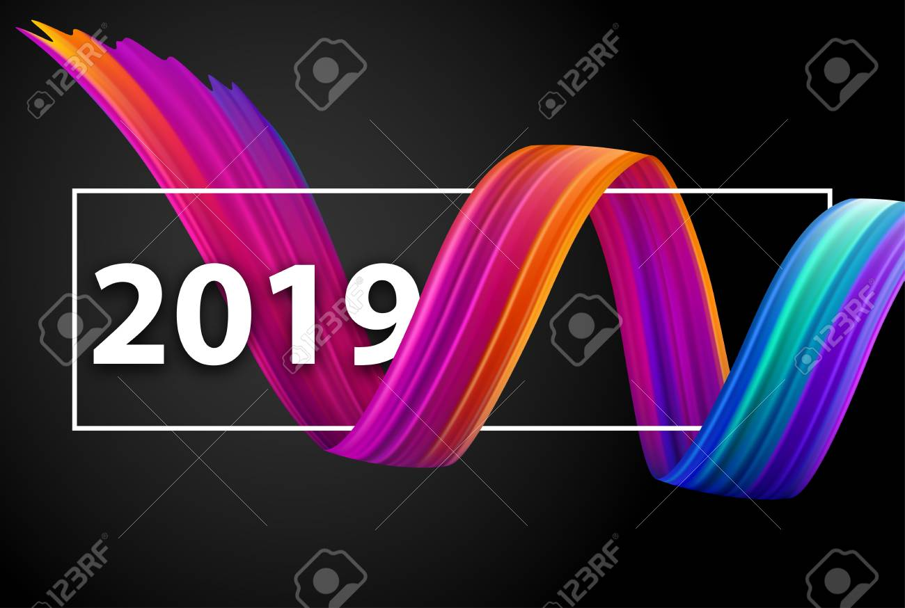 Happy New Year 2019 greeting card with colorful brush stroke