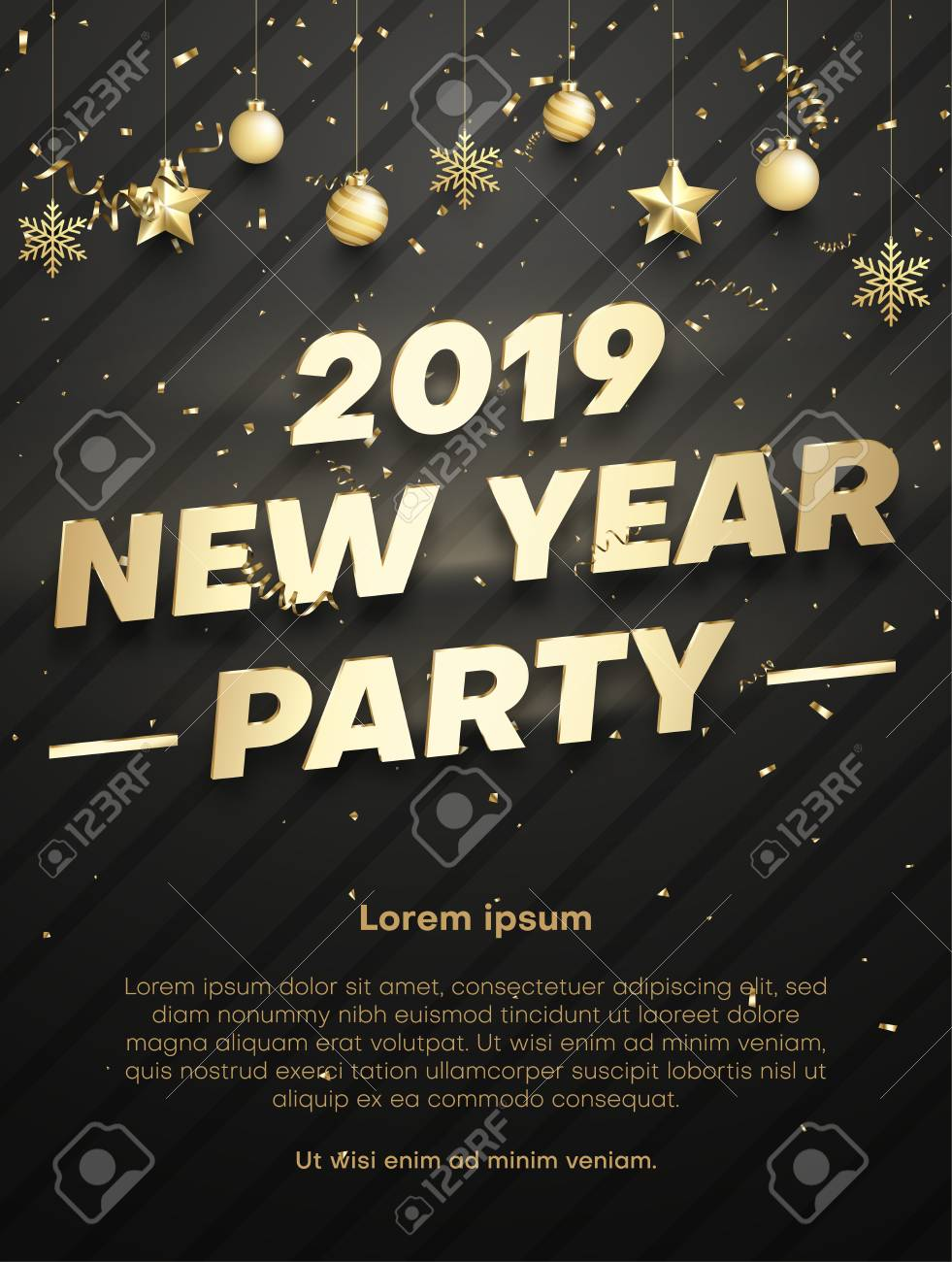 new year 2019 party poster or invitation template with golden christmas balls and confetti vector