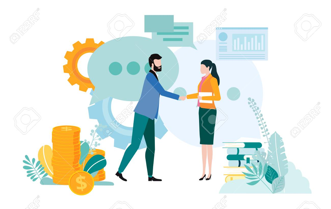 People meet, implement business projects, view diagrams, search for partnership and increase business. Teamwork, startup, business communication. Vector illustration, flat style. - 126416045