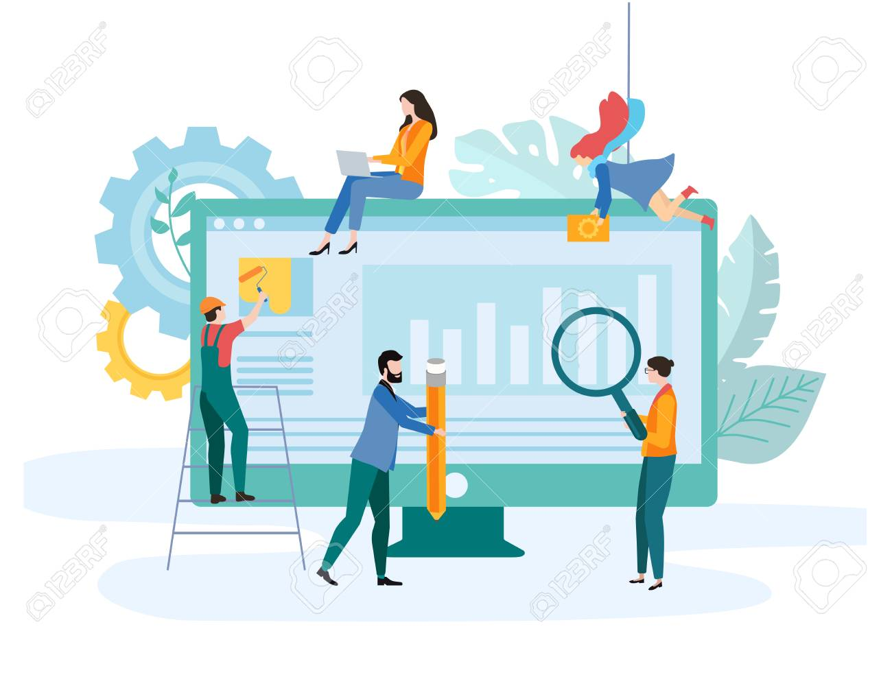 Web development. Template with computer and people creating website. Computer technologies, online support, consultation, internet, web application programming and design. Vector, flat style. - 116992011