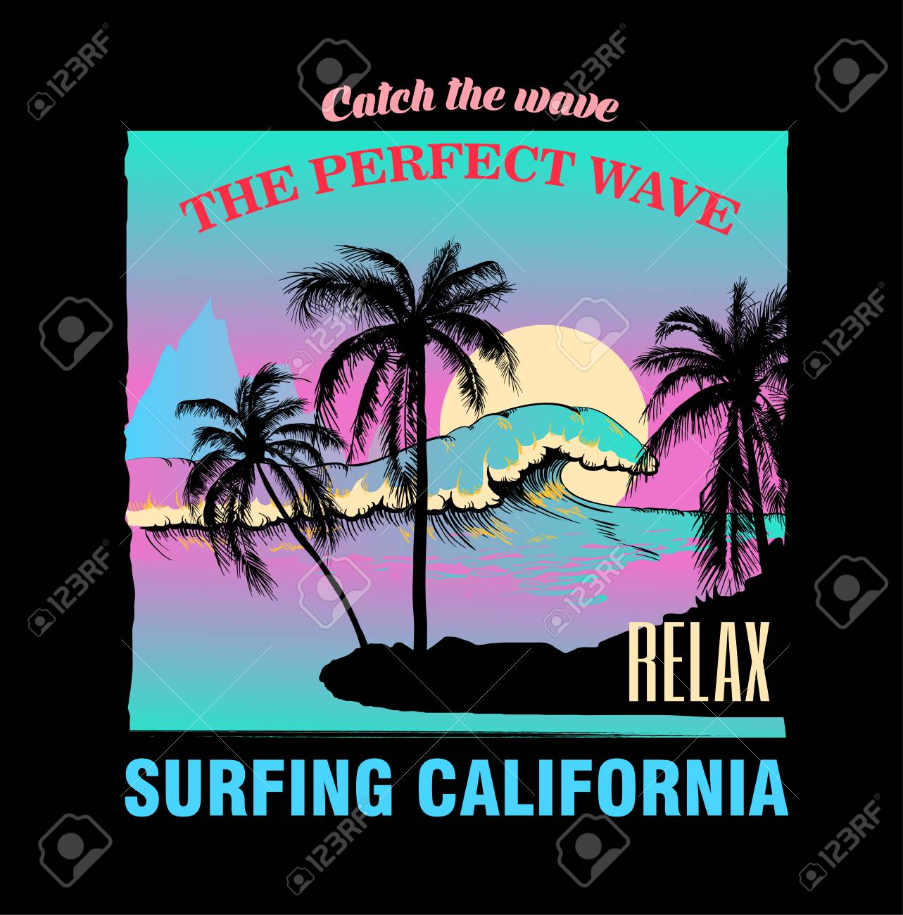 Seascape with waves and palm trees on beach. Decor for fabric, textile, clothes. T-shirt print, surfing California inscription, trendy summer design for youth, teenagers, poster. Vector illustration. - 124973591