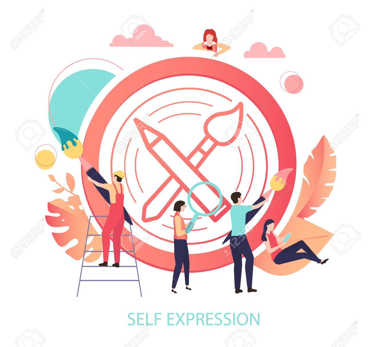 Self expression. Round sign or icon with paint brush and people. Inspiration, creation, art, craft, hobby, lifestyle. Vector illustration in trendy living coral color, flat style. - 124490264