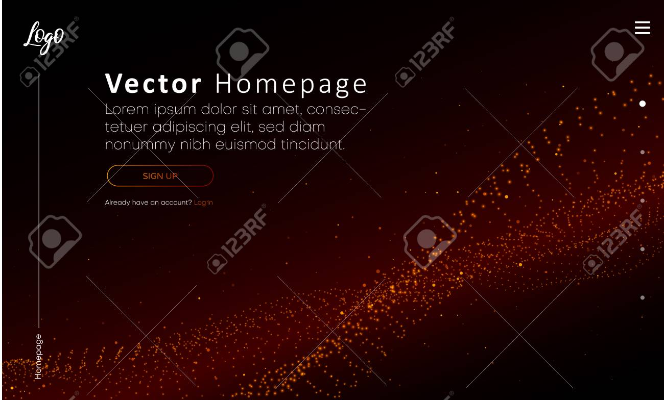 Web homepage template with buttons and red abstract digital pattern. Creative webpage design. Vector background. - 122830335