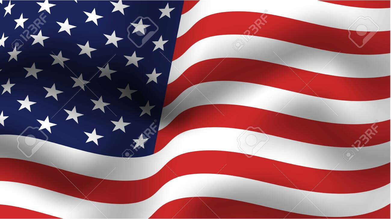 Blue and red USA flag. Greeting poster template for Flag day June 14th, Independence Day of America July 4th, Memorial Day. Vector illustration. - 123075932