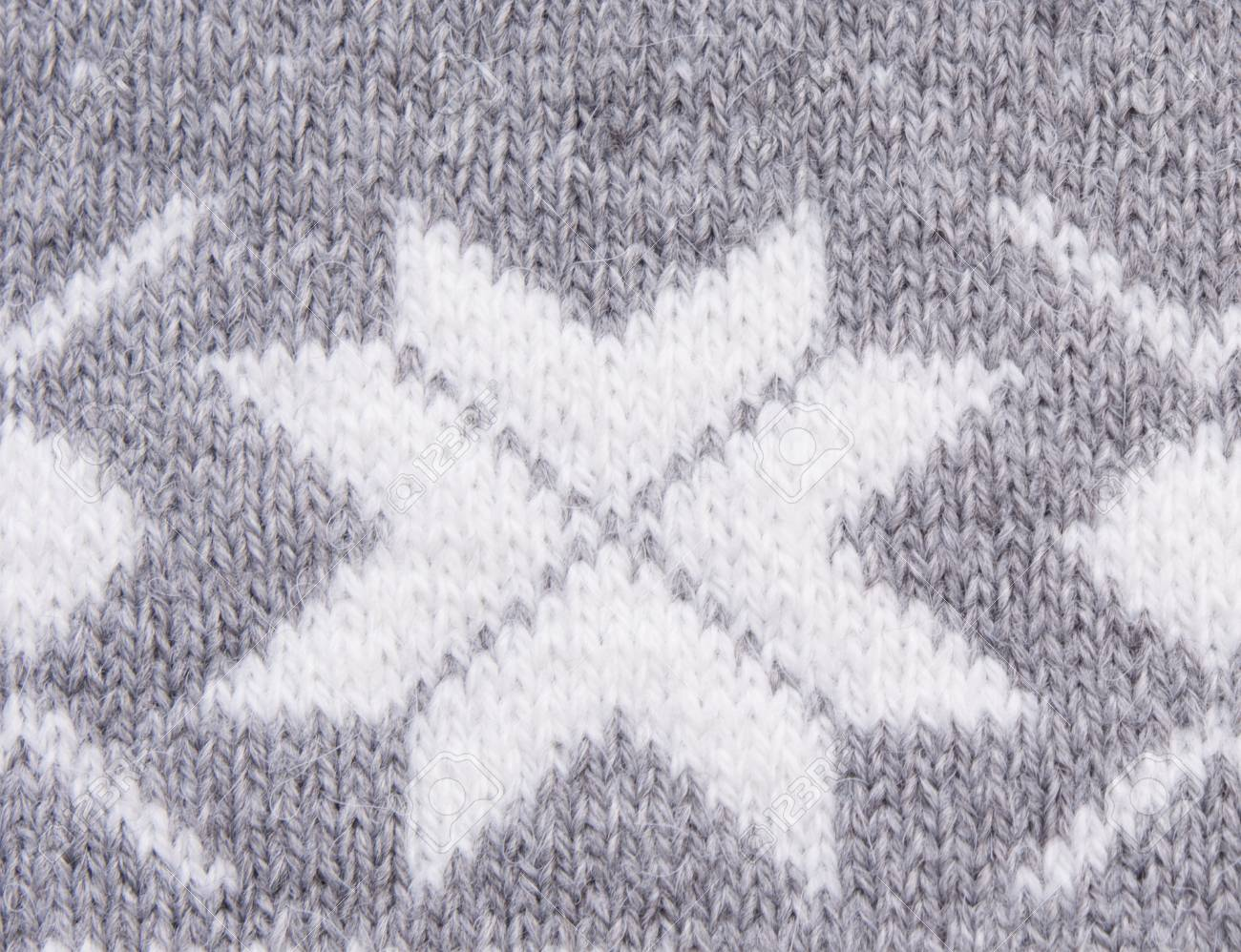 Knitted Pattern With White Snowflakes Stock Photo, Picture And ...