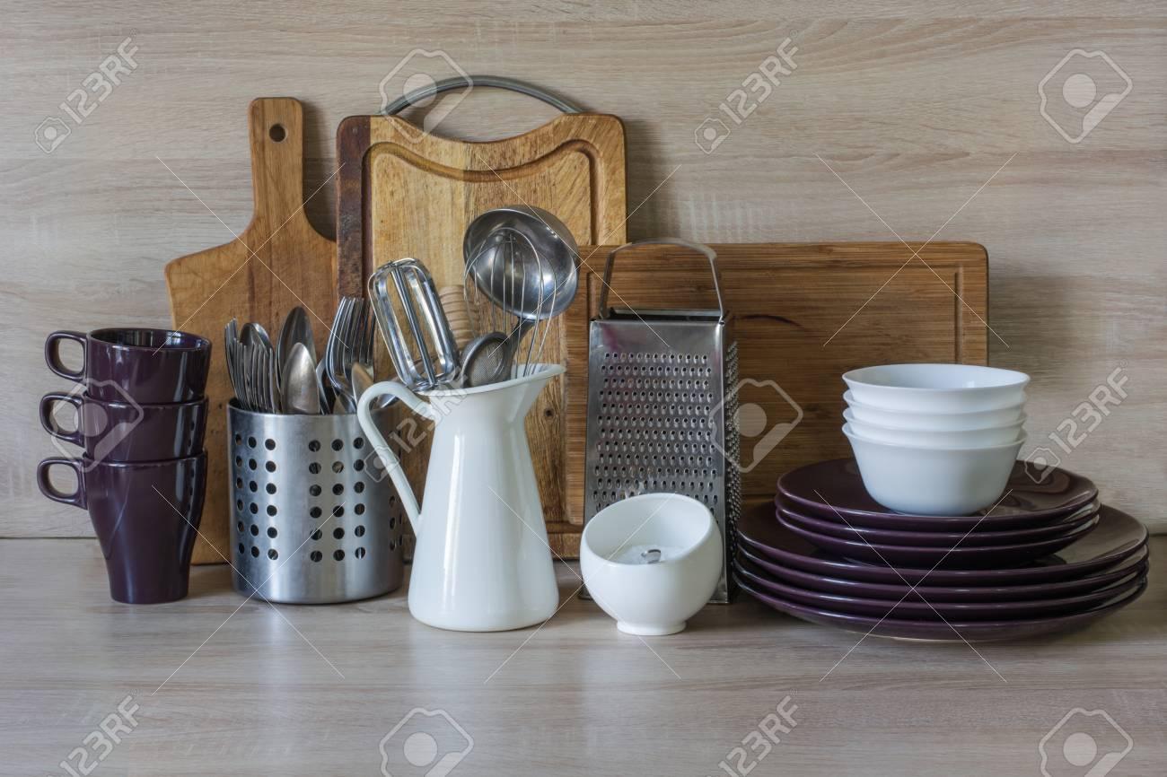 Kitchen Still Life As Background For Design Crockery Tableware