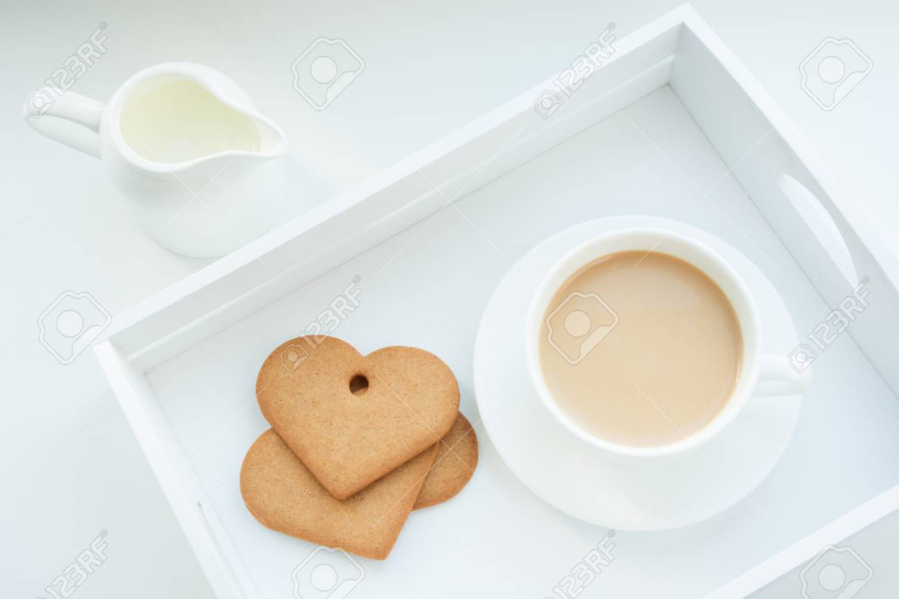 Winter Concept Breakfast White Mug Of Hot Coffee With Milk