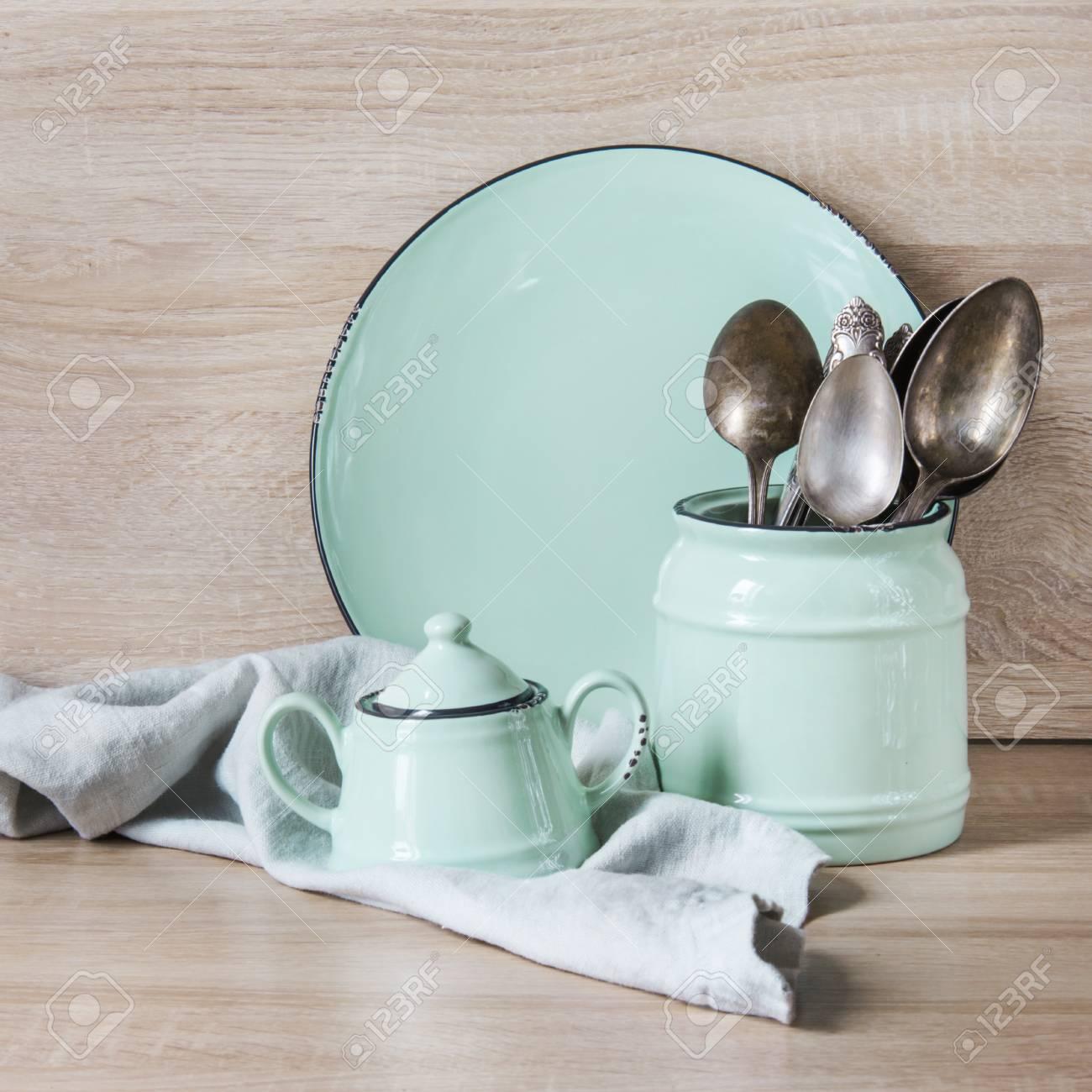 Turquoise Crockery Tableware Dishware Utensils And Stuff On
