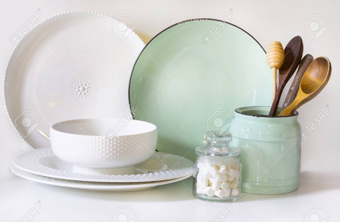 Crockery Tableware Utensils And Other Different White And