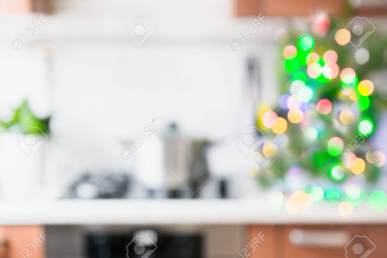 Christmas Table Background With Christmas Tree In Kitchen Out ...