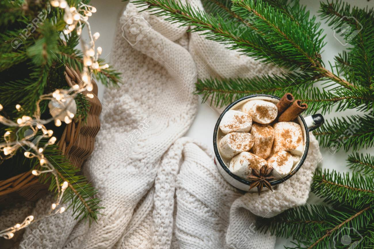 Coffee Christmas Ornament.Winter Warming Mug Of Coffee And Chocolate With Marshmallow On