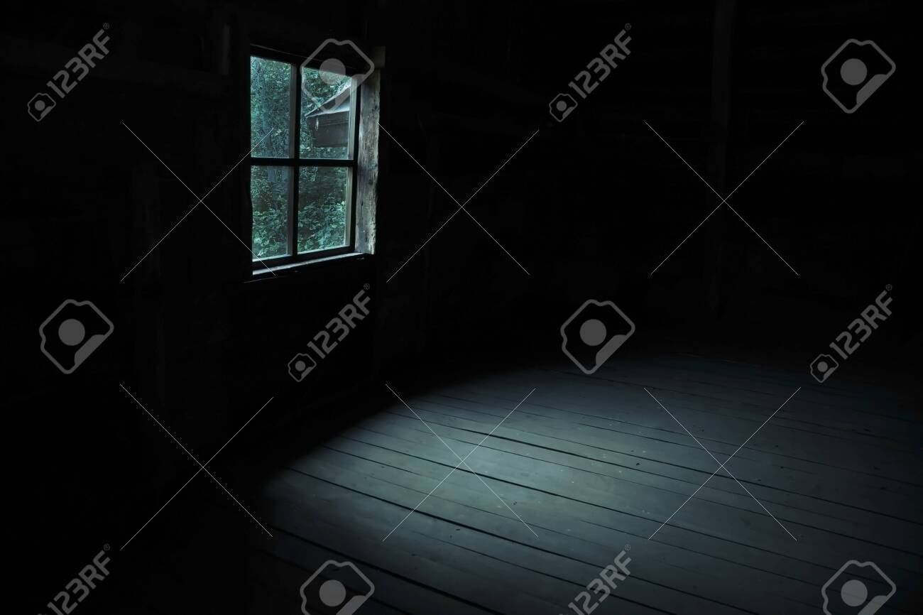 Abstract horror background for halloween. Gloomy scary terrible window with ghostly light and shadows in a dark black room in the attic, corridor or basement in an abandoned house in the forest - 133952090