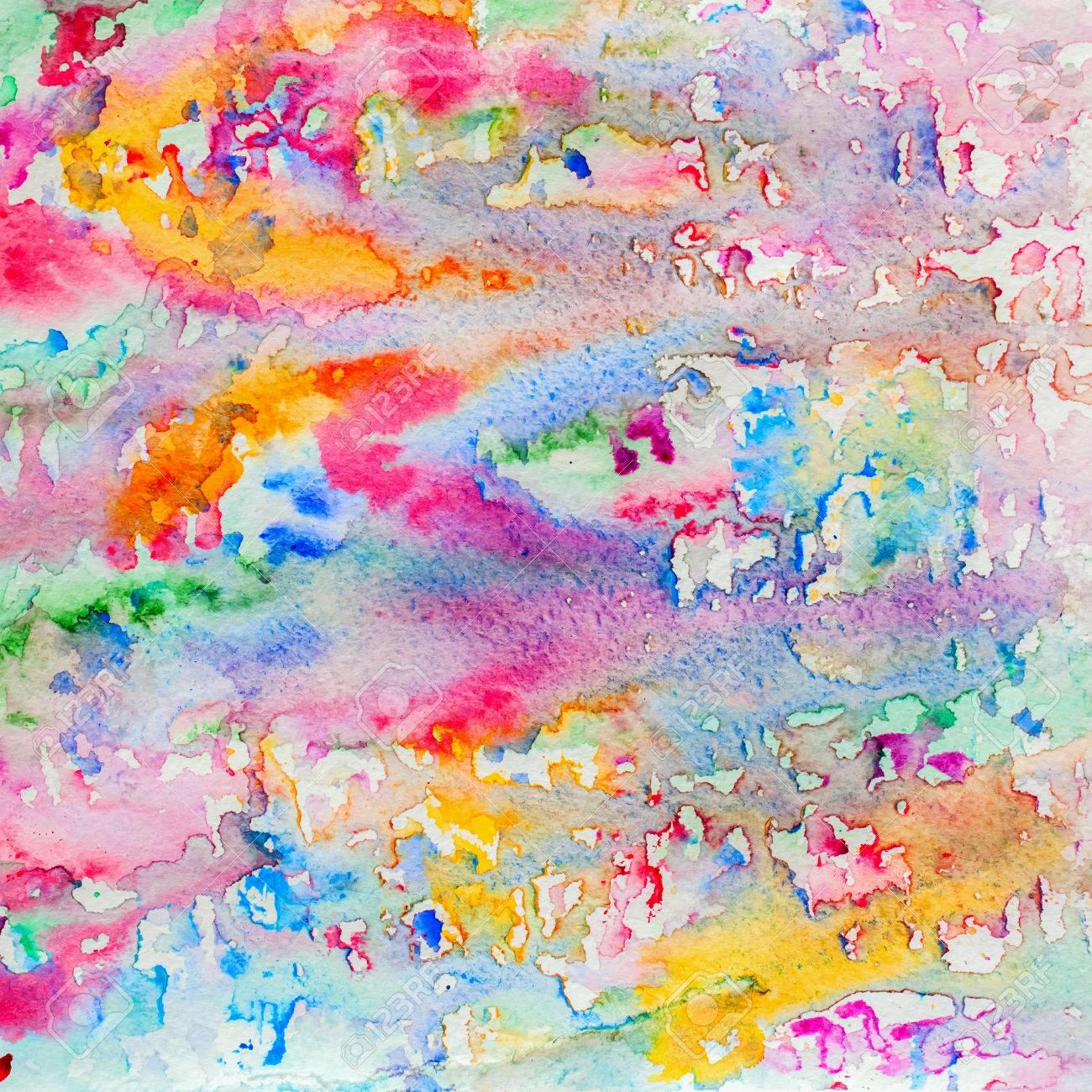 Aquarelle Abstraite Toutes Les Couleurs De La Peinture De Fond Arc En Ciel  Avec Spray, Taches, éclaboussures. Main Dessinée Sur La Texture Du Grain De  ...