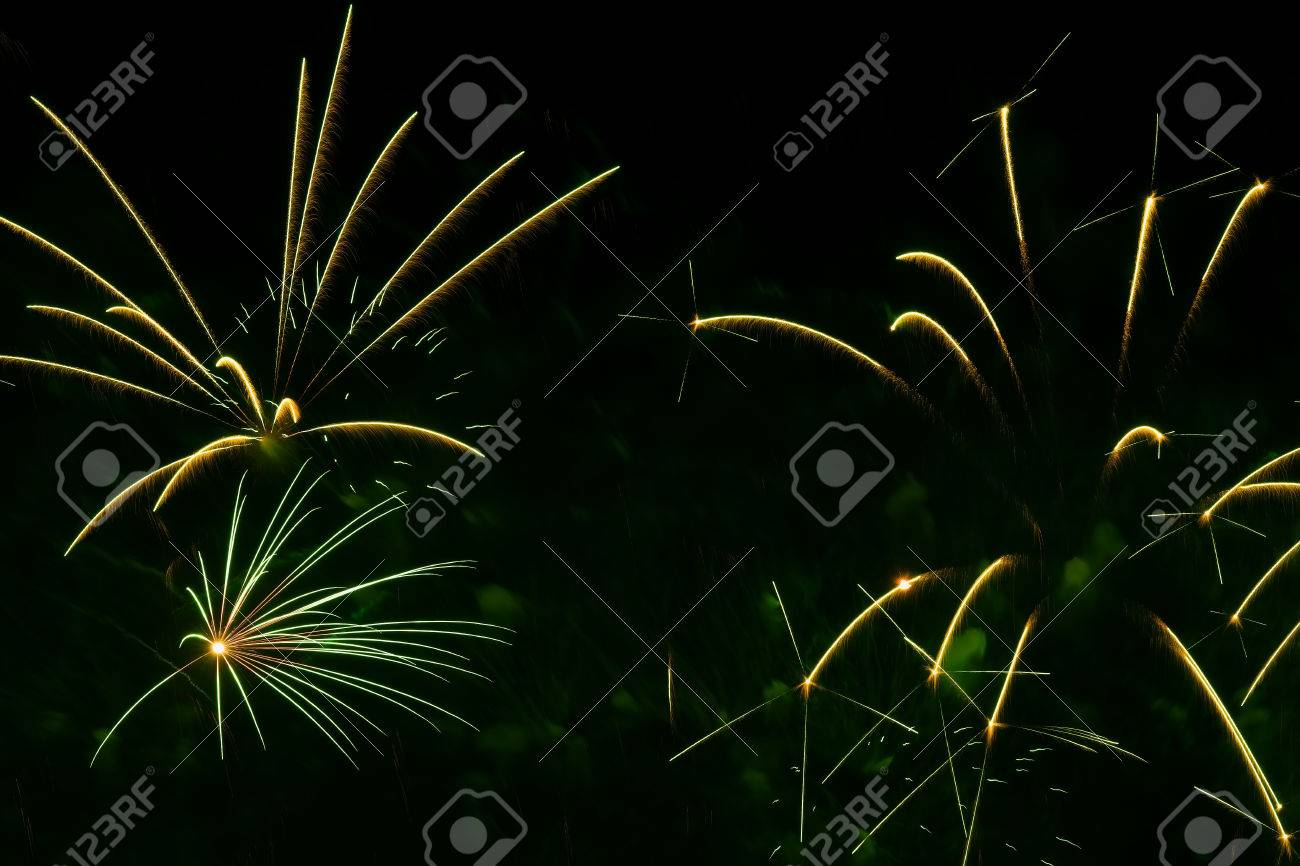 Aesthetic Holiday Abstract Background With Beautiful Green Fireworks Holiday