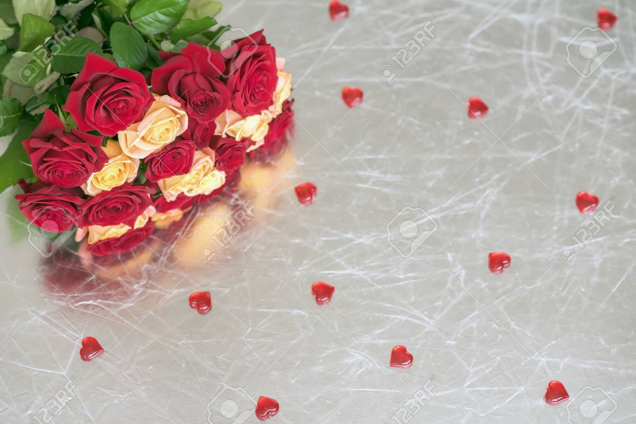 Bouquet Of Roses Of Two Colors For Beloved Many Red Hearts Stock