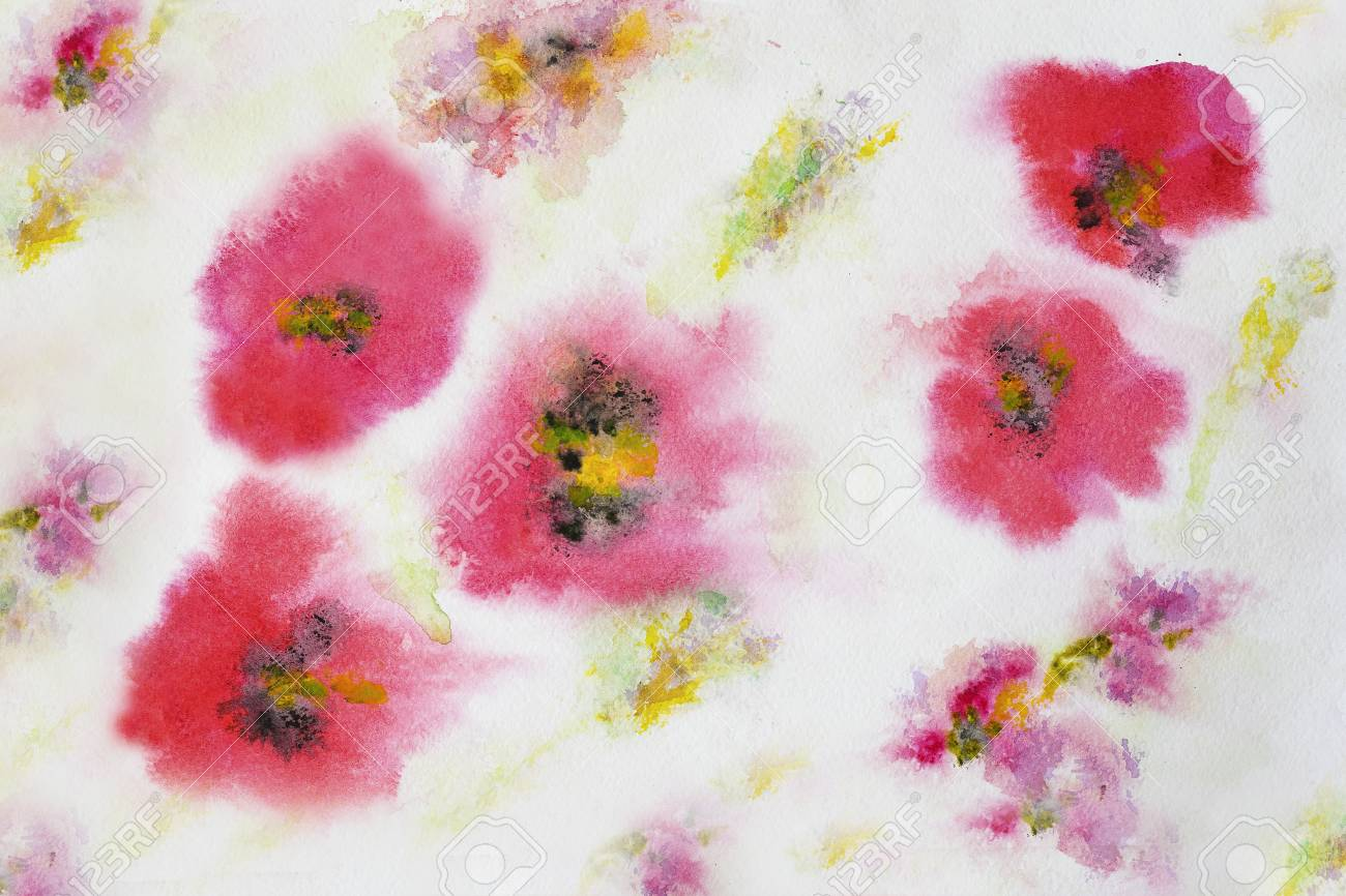 Poppy Flower Pattern Hand Painted Watercolor Paper Grain Texture Art Design Banner