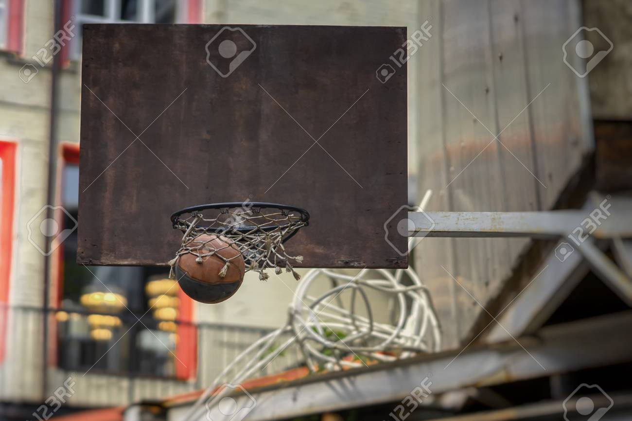 street basketball game basketball shield ball going through