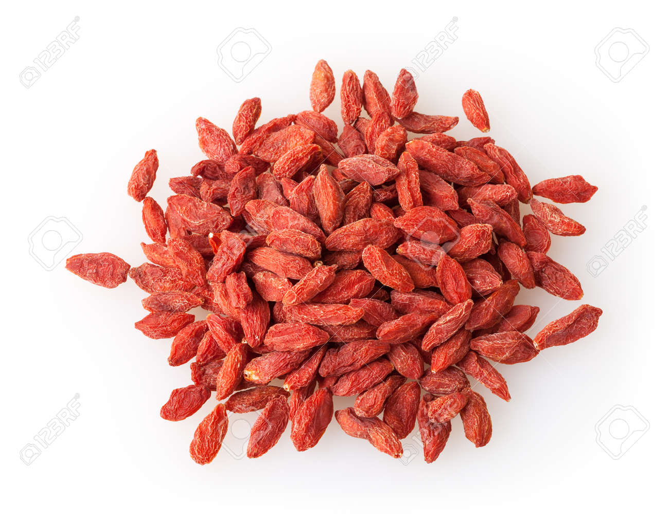 Heap of goji berries isolated on white background - 107997522