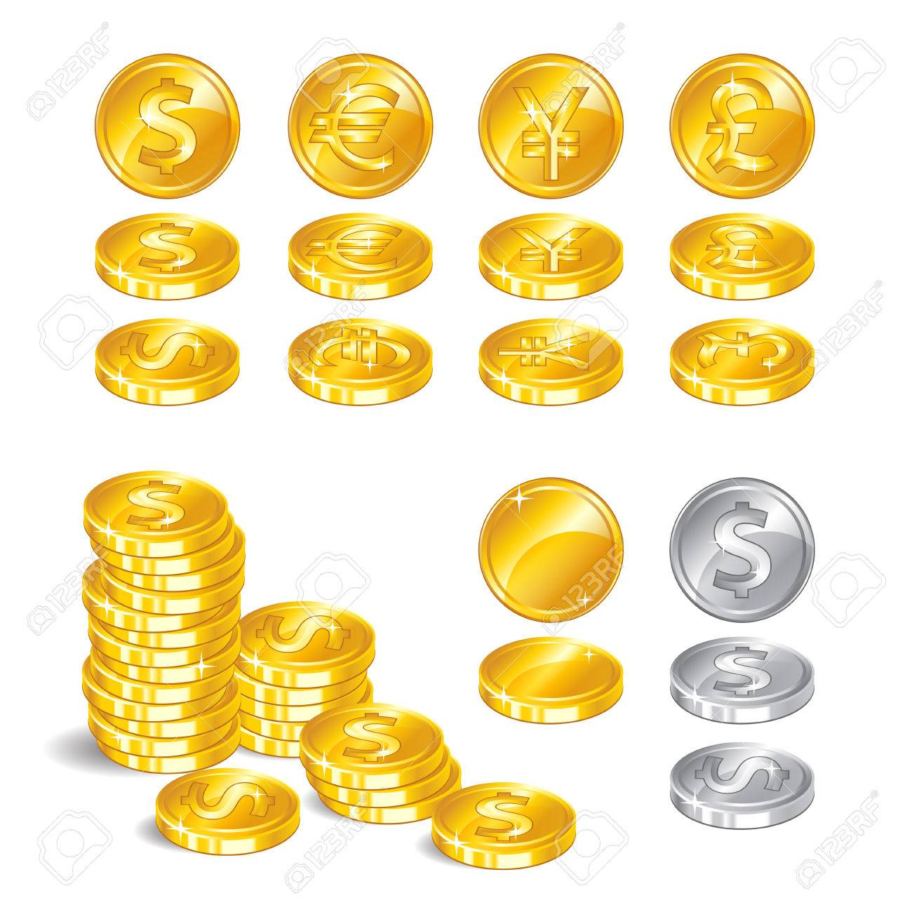 Gold Coins Signs World Currencies A Symbol Of Wealth On White