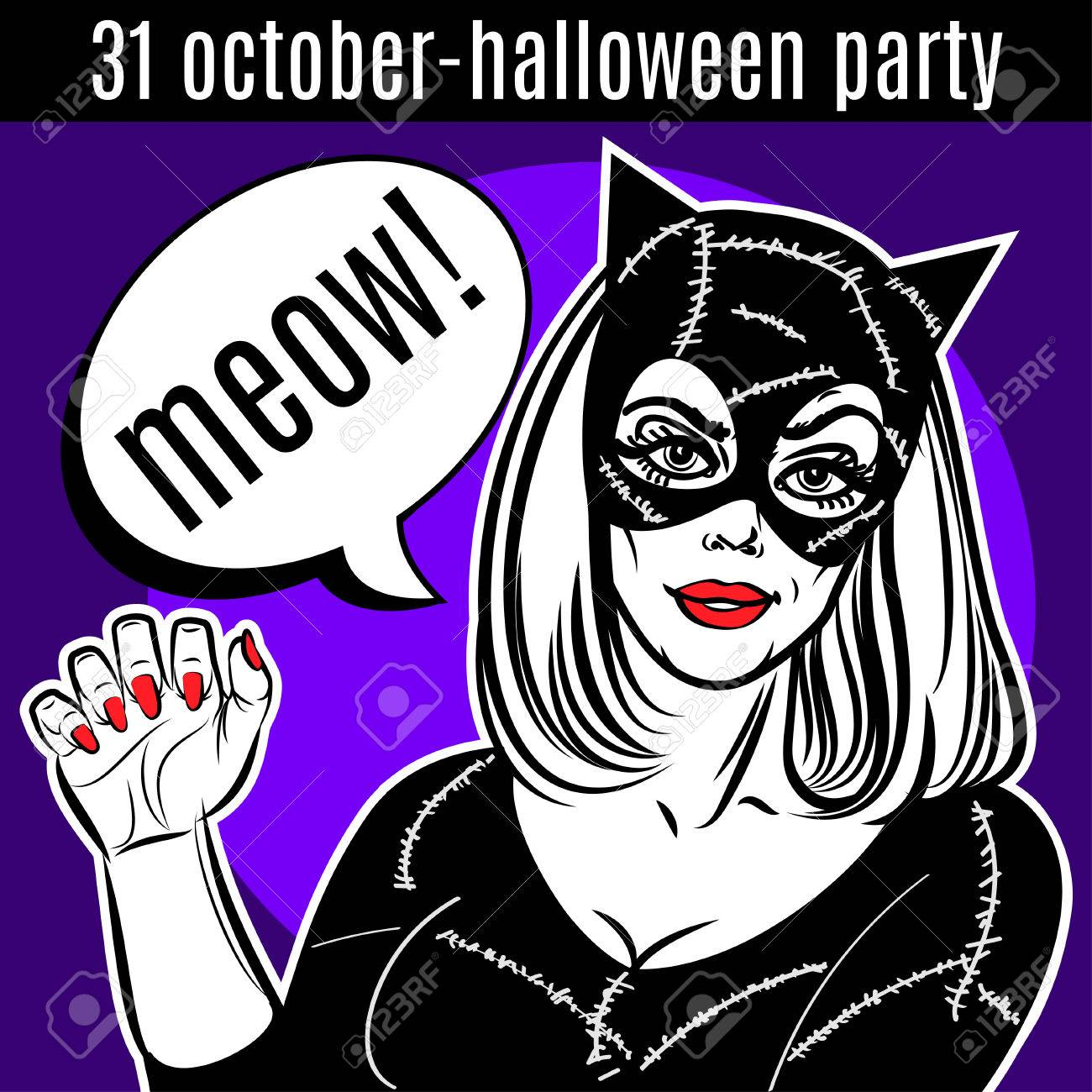 halloween party design template woman in catsuit at lady