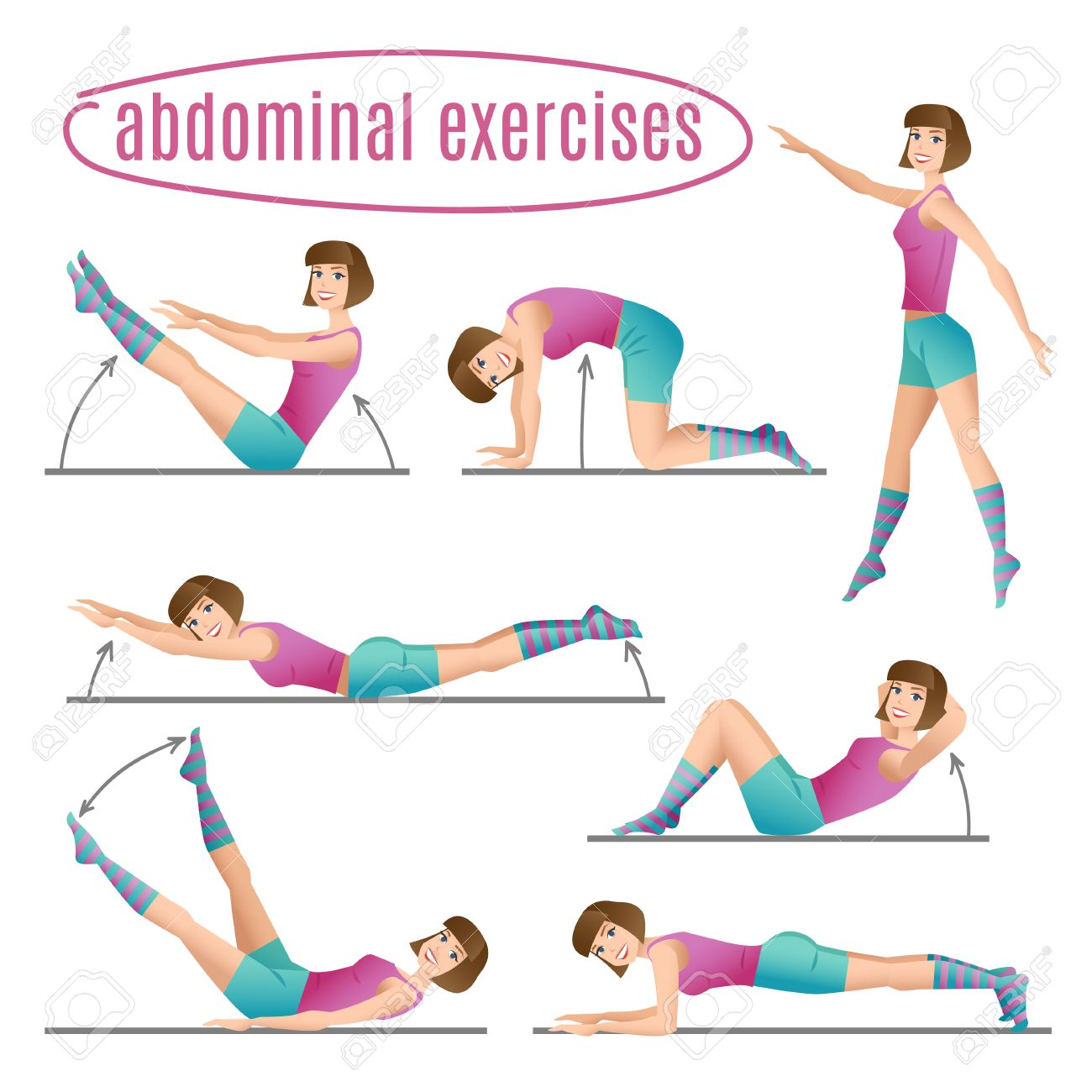 Set of exercises  Woman doing abdominal exercises
