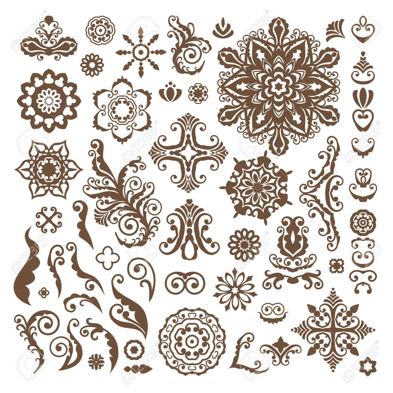 Abstract Floral Illustration Design Elements On White Background