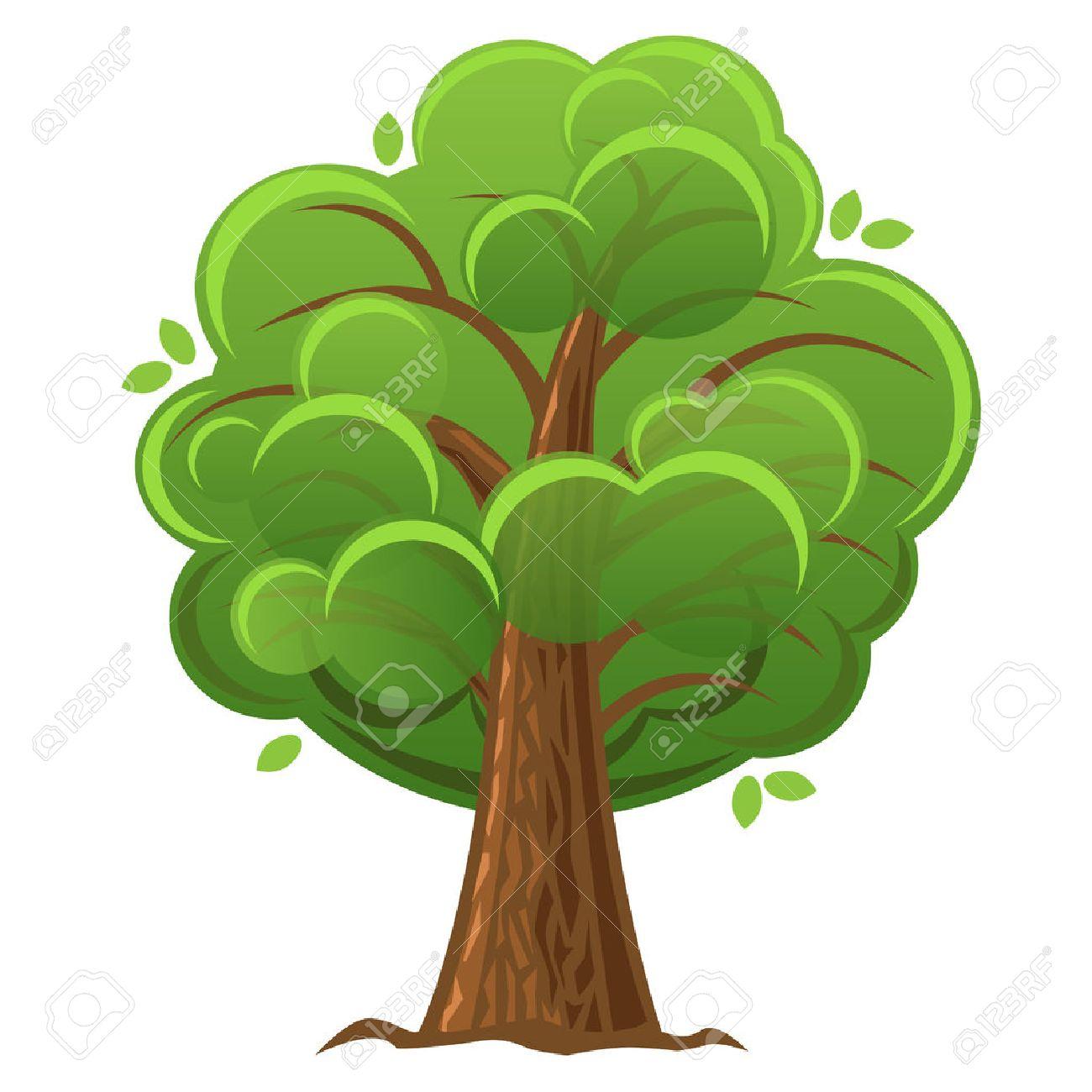 cartoon tree green oak tree with luxuriant foliage vector rh 123rf com oak tree cartoon images cartoon oak tree clip art